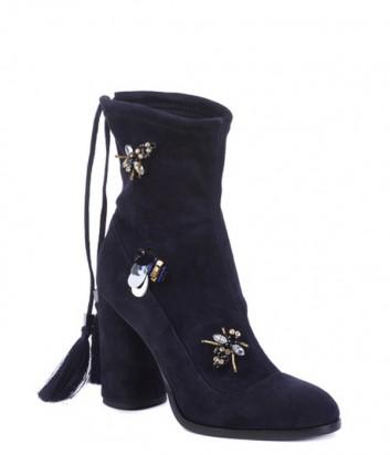 Замшевые полусапоги Helena Soretti 5013 с декором темно-синие