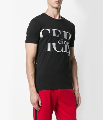 Черная хлопковая футболка ICEBERG с вышитым белым логотипом