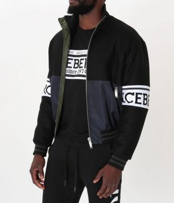 Черная куртка на молнии ICEBERG с логотипом на рукавах