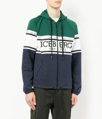 Теплая мужская олимпийка ICEBERG с логотипом сине-зеленая