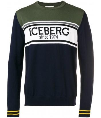 Темно-синий шерстяной свитер ICEBERG с макси-логотипом