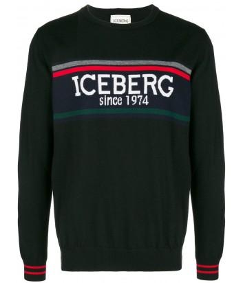 Черный шерстяной свитер ICEBERG с макси-логотипом