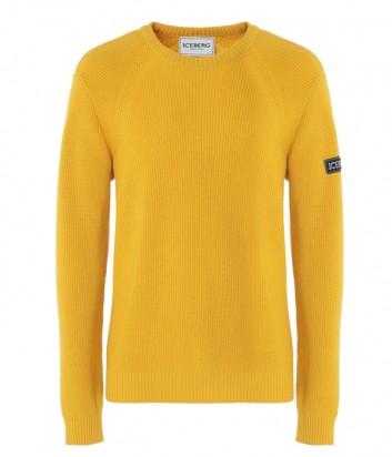 Желтый шерстяной пуловер ICEBERG с логотипом на рукаве