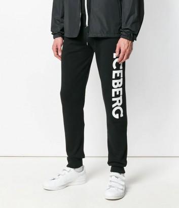 Черные спортивные штаны ICEBERG с логотипом