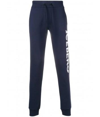Синие спортивные штаны ICEBERG с логотипом