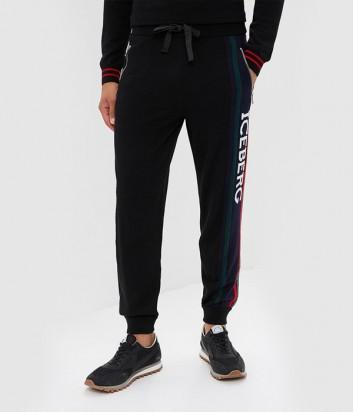 Черные спортивные штаны ICEBERG с красными лампасами и логотипом
