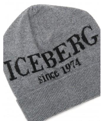 Женская кашемировая шапка ICEBERG с логотипом серая