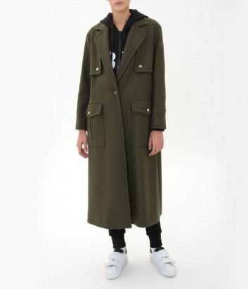 Длинное шерстяное пальто ICEBERG в стиле милитари цвета хаки