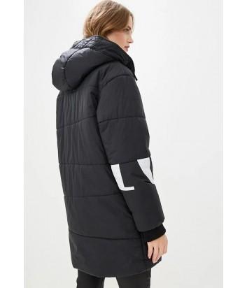 Черная удлиненная курточка ICEBERG с капюшоном и надписями