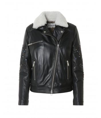 Черная кожаная куртка ICEBERG декорированная вышивкой и цветными камнями