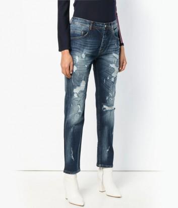 Темно-синие прямые джинсы ICEBERG с элементами потертостей