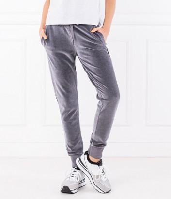 Велюровые женские брюки ICEBERG с лампасами и логотипом серые