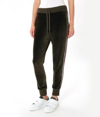 Велюровые женские брюки ICEBERG с лампасами и логотипом оливковые
