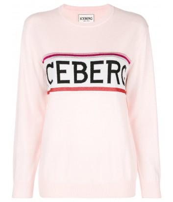 Женский шерстяной джемпер ICEBERG с логотипом нежно-розовый
