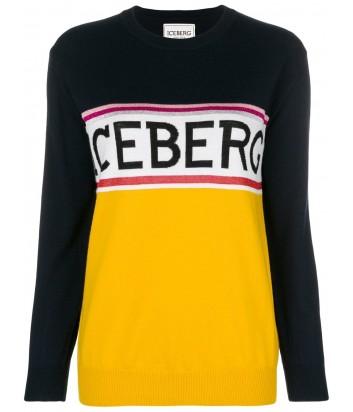 Женский шерстяной джемпер ICEBERG с логотипом черно-желтый