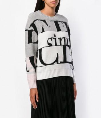 Серо-белый женский свитер ICEBERG с надписями и логотипами