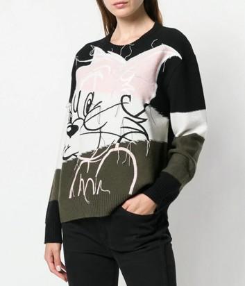 Шерстяной джемпер ICEBERG в стиле колорблок с изображением кота