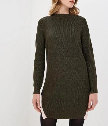 Оливковое трикотажное платье ICEBERG с добавлением люрекса