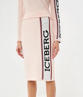 Нежно-розовая шерстяная юбка ICEBERG с логтипом сбоку
