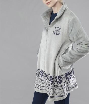 Серый флисовый халат Gisela 1554 на молнии