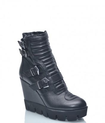 Кожаные ботинки на танкетке Baldinini BN37 на меху черные