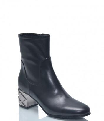 Черные кожаные ботильоны Baldinini BN311 на металлическом каблуке