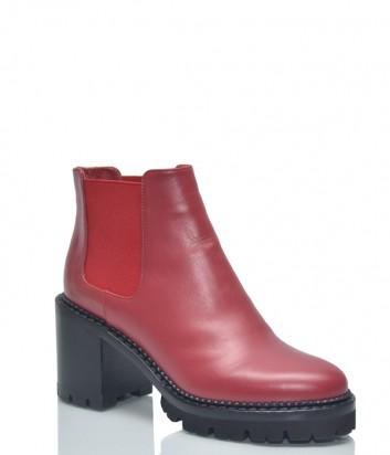 Красные кожаные ботинки Nando Muzi 384 на широком каблуке