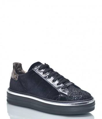 Черные бархатные кеды Baldinini 8746 с глиттерным носком