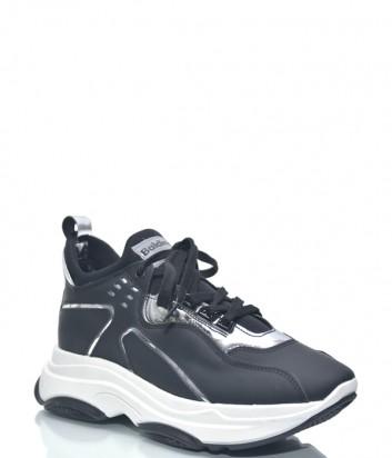 Черные кожаные кроссовки Baldinini 8944 на высокой белой танкетке