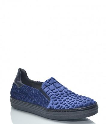 Синие женские слипоны Baldinini BN86 с текстурой под крокодила