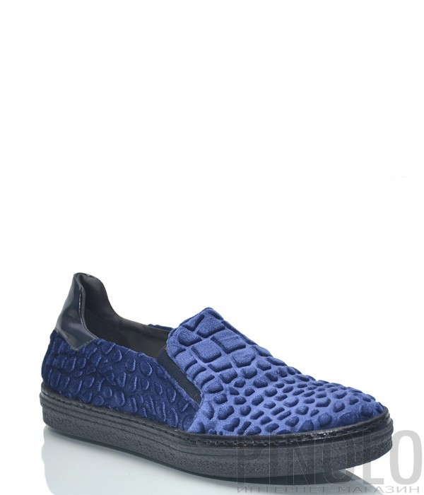 ea5195e40 Синие женские слипоны Baldinini BN86 с текстурой под крокодила ...