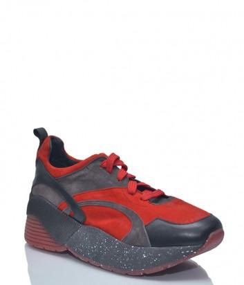 Замшевые кроссовки L'estrosa Sofy на шнуровке красно-черные