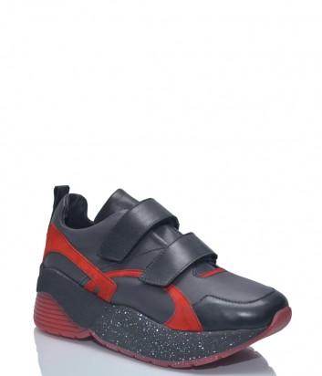 Кожаные кроссовки L'estrosa Sofy на липучке черно-красные