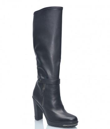 Черные кожаные сапоги Baldinini BN308 на широком каблуке