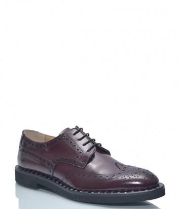 Кожаные туфли-броги Roberto Serpentini 1730 с перфорацией бордовые