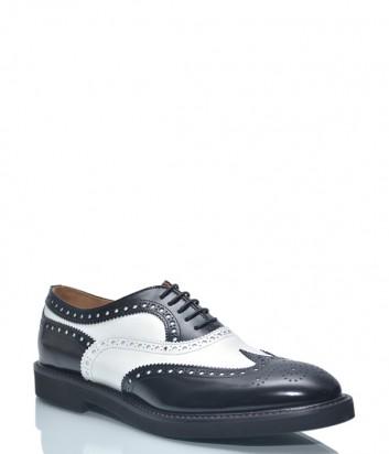 Кожаные туфли-броги Roberto Serpentini 609 с перфорацией черно-белые