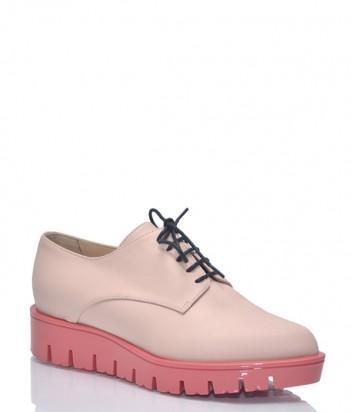 Туфли-броги на танкетке Baldinini BN95 в гладкой нежно-розовой коже