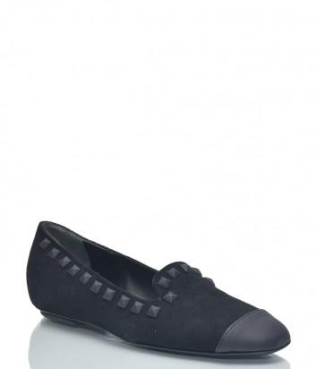 Черные замшевые балетки Baldinini BN31 с кожаными вставками