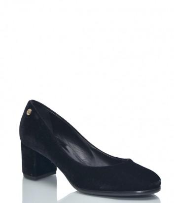 Черные бархатные туфли Baldinini BN84 на широком каблуке