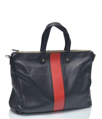 Черная кожаная сумка Leather Country 4092733 с вертикальной красной полоской