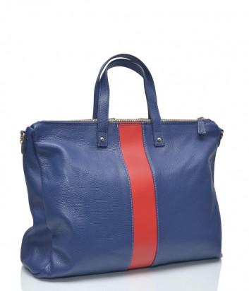 Синяя кожаная сумка Leather Country 4092733 с вертикальной красной полоской