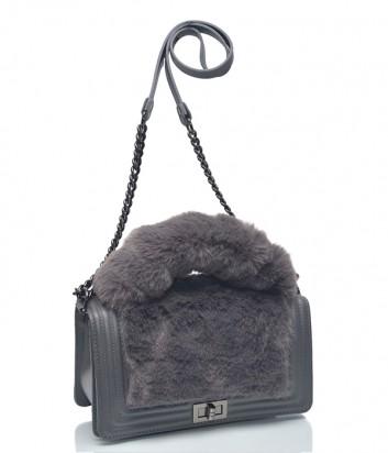 Серая кожаная сумка Leather Country 4893197 на цепочке с мехом