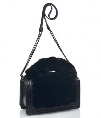 Черная кожаная сумка Leather Country 4893197 на цепочке с мехом