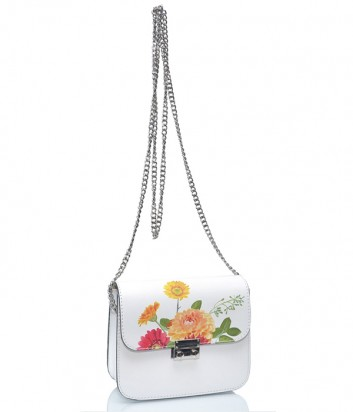 Белая кожаная сумка Leather Country 1181 на цепочке с цветочным рисунком
