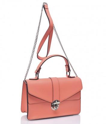 Коралловая кожаная сумка Leather Country 1175 на цепочке