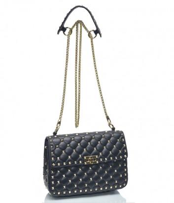 Черная сумка на цепочке Leather Country 6993102 из стеганной кожи с заклепками