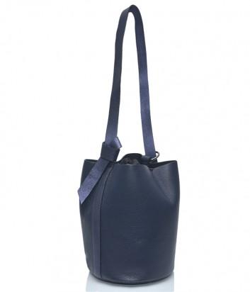 Синяя кожаная сумка Leather Country 2893248 в форме бочонка