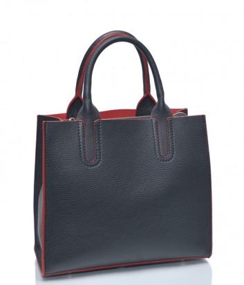 Черная кожаная сумка Leather Country 3892705 с красным кантом