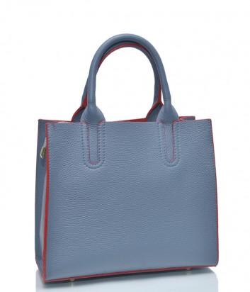 Голубая кожаная сумка Leather Country 3892705 с красным кантом