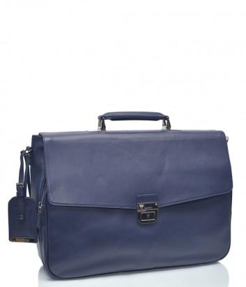 Мужская кожаный портфель Baldinini 672040 темно-синий